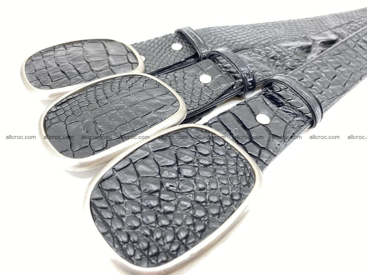 Handcrafted Crocodile leather belt 778 Foto 9