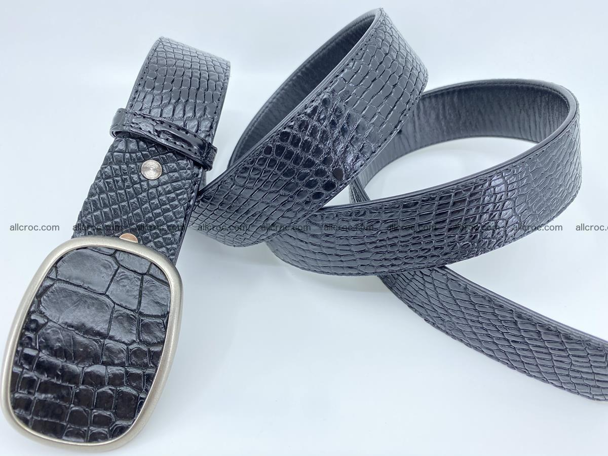 Handcrafted Crocodile leather belt 778 Foto 3