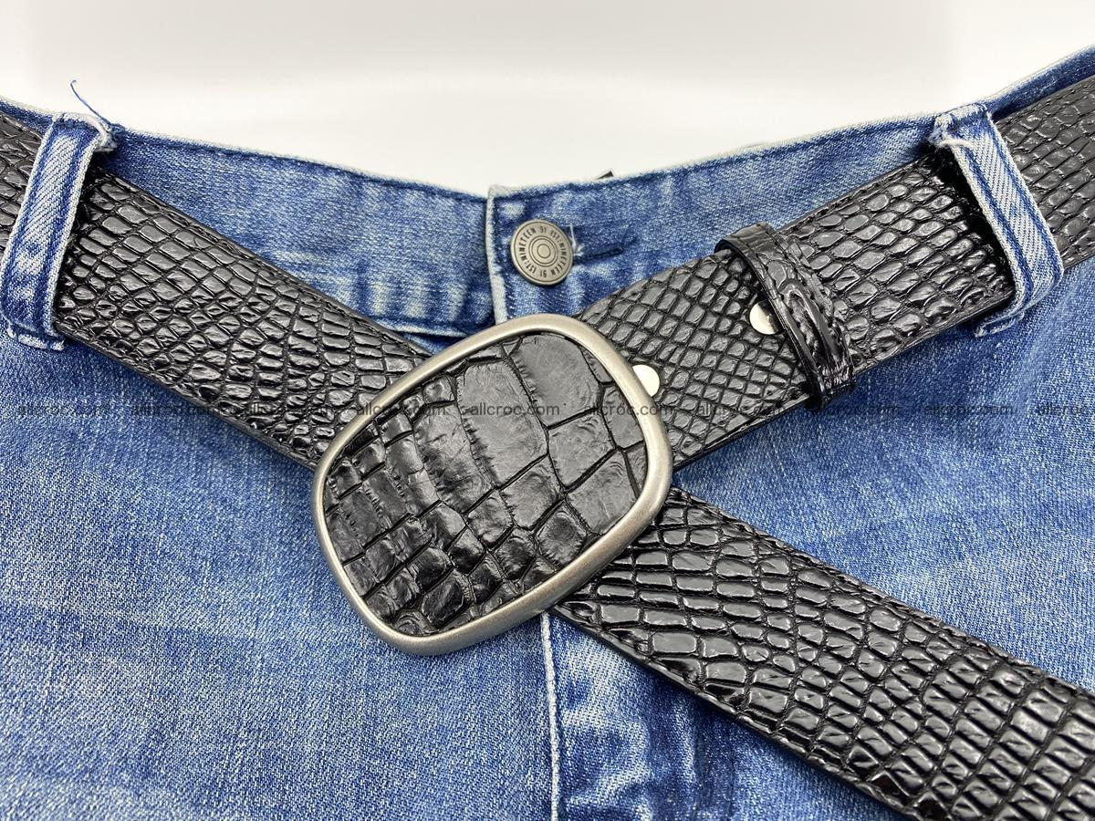 Handcrafted Crocodile leather belt 778 Foto 6