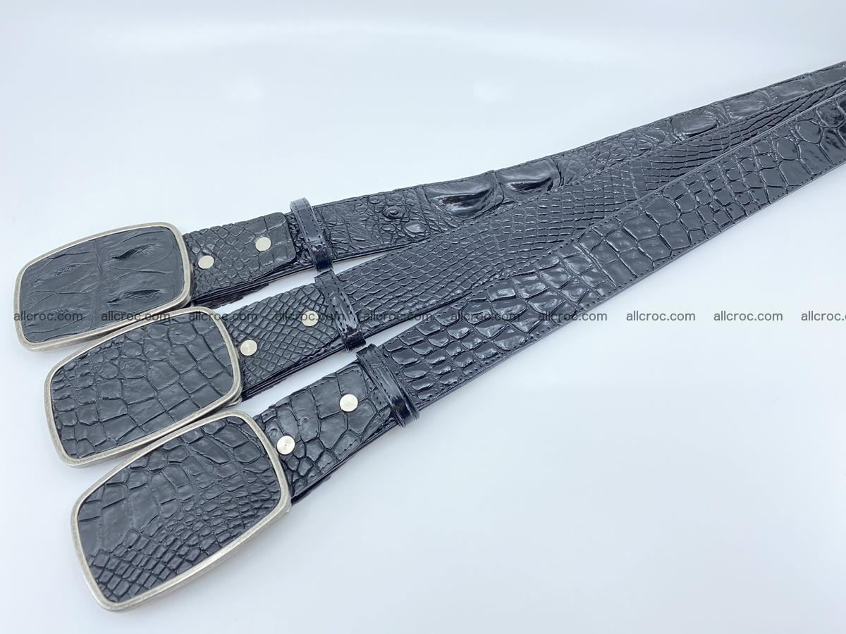 Handcrafted Crocodile leather belt 786 Foto 8