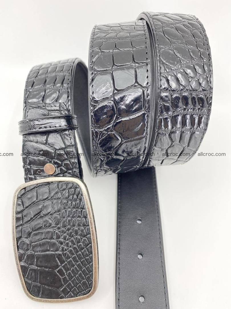Handcrafted Crocodile leather belt 786 Foto 2