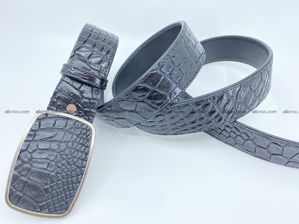 Handcrafted Crocodile leather belt 786 Foto 3
