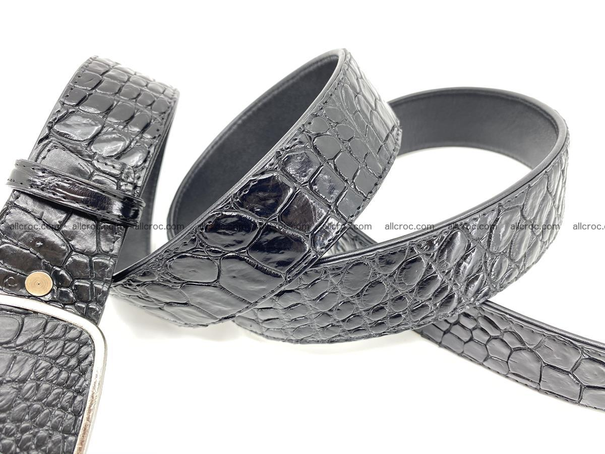 Handcrafted Crocodile leather belt 786 Foto 4
