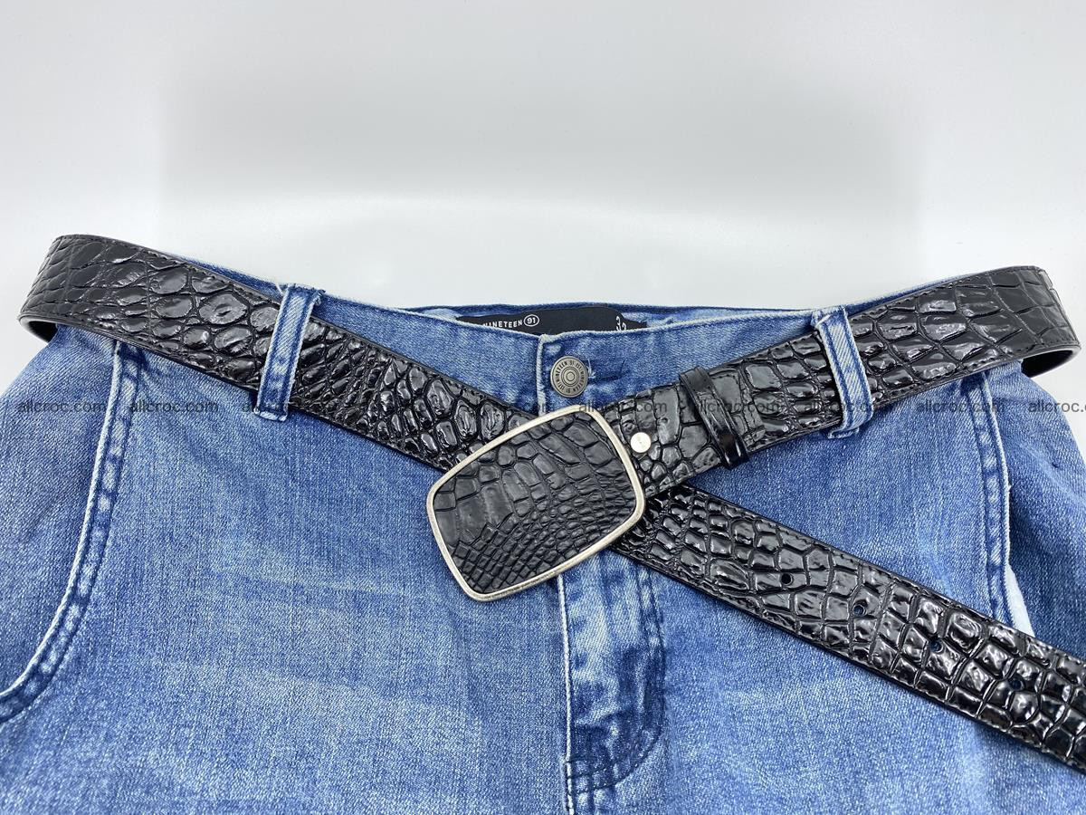 Handcrafted Crocodile leather belt 786 Foto 5