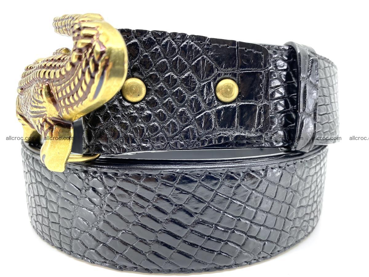 Handcrafted Crocodile leather belt 770 Foto 2
