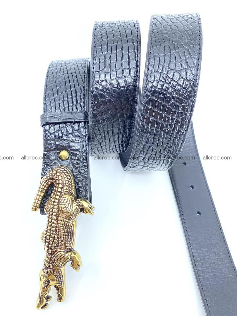 Handcrafted Crocodile leather belt 770 Foto 5