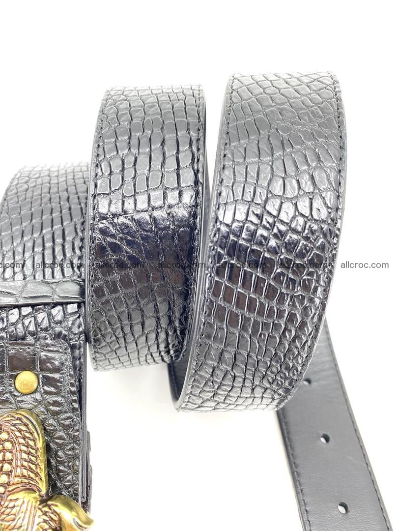 Handcrafted Crocodile leather belt 770 Foto 6