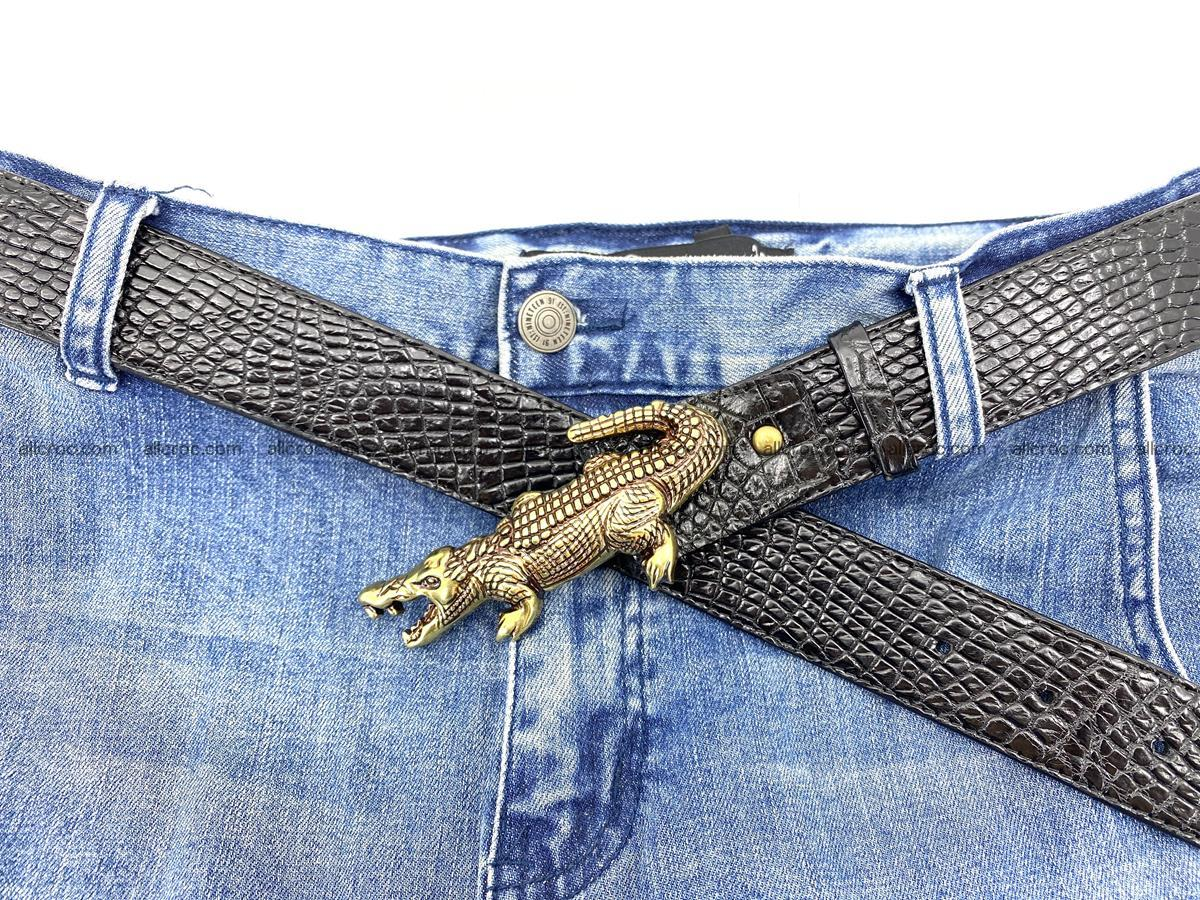 Handcrafted Crocodile leather belt 770 Foto 10