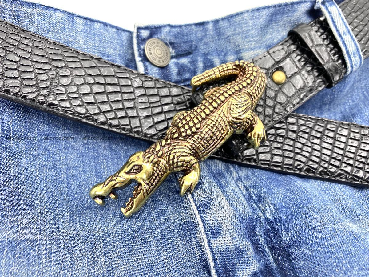 Handcrafted Crocodile leather belt 770 Foto 11