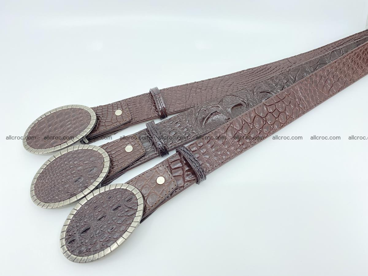 Handcrafted Crocodile leather belt 772 Foto 9