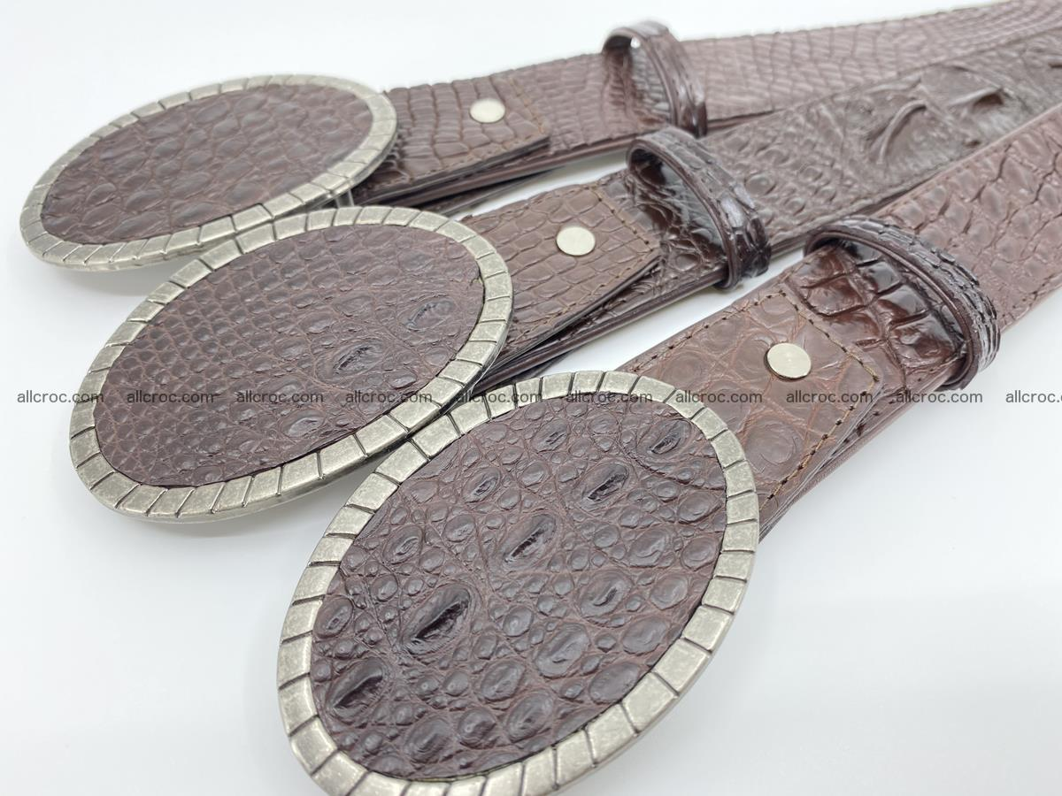 Handcrafted Crocodile leather belt 771 Foto 9