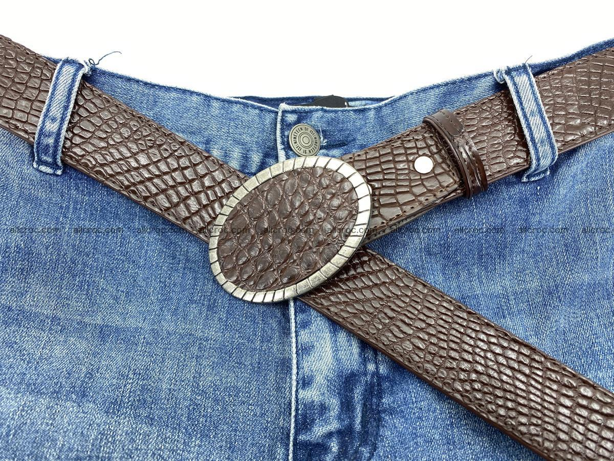 Handcrafted Crocodile leather belt 771 Foto 6