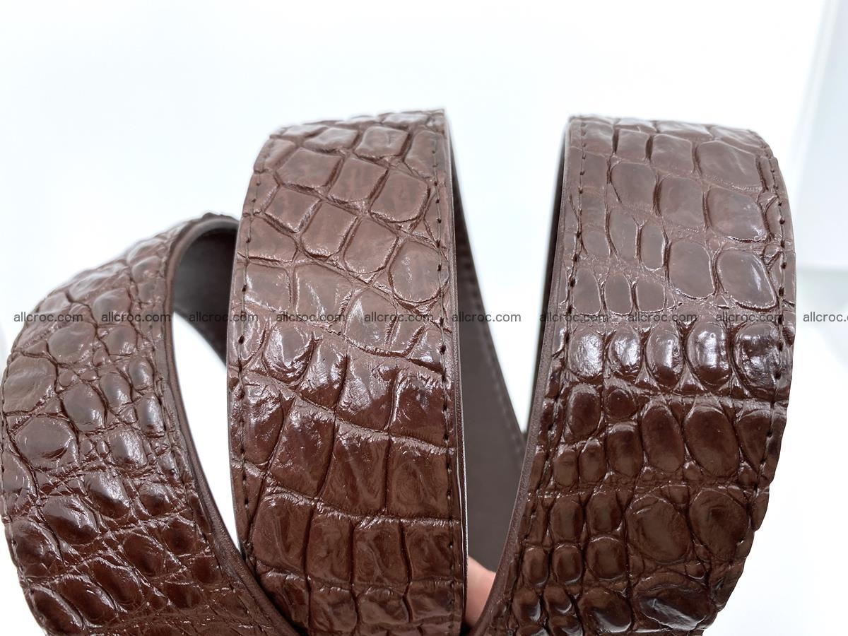 Handcrafted Crocodile leather belt 748 Foto 7