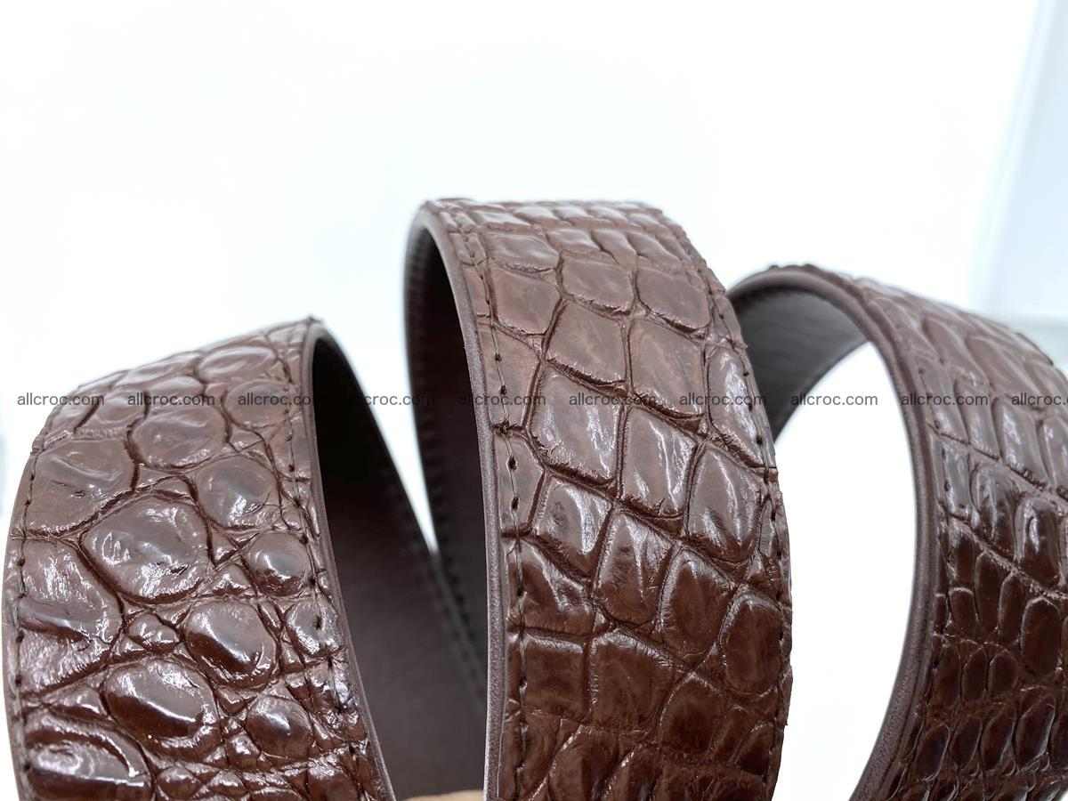 Handcrafted Crocodile leather belt 748 Foto 5