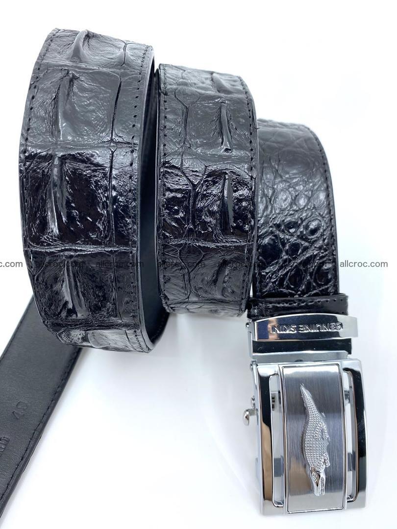 Handcrafted Crocodile leather hornback belt 743 Foto 7