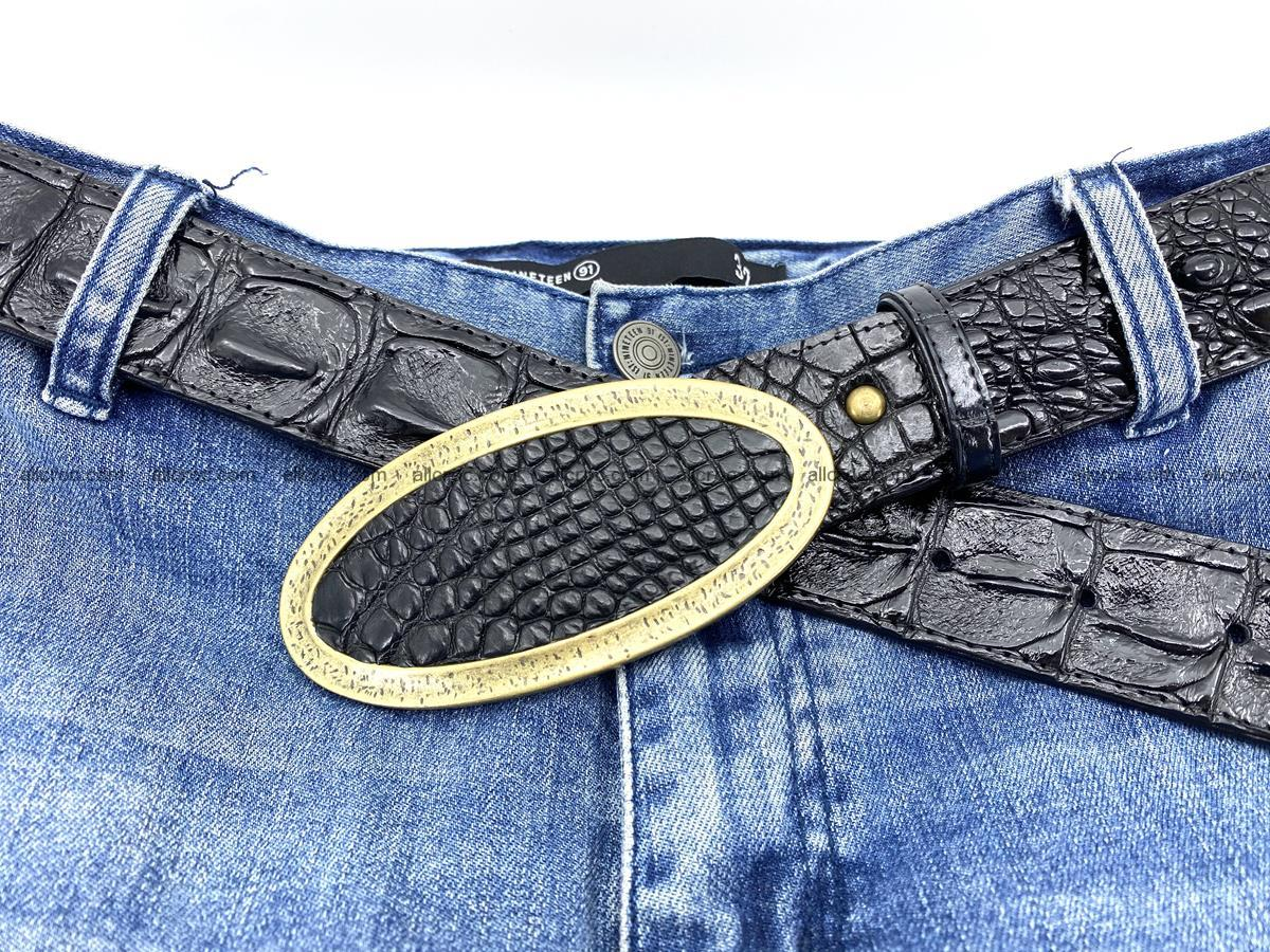 Handcrafted Crocodile leather hornback belt 801 Foto 6
