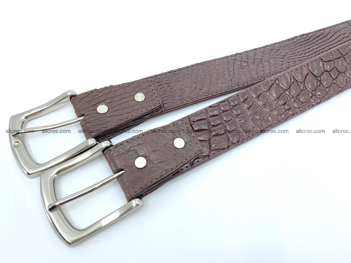 Handcrafted Crocodile leather belt 748 Foto 8
