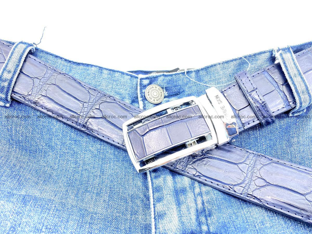 Handcrafted crocodile leather belt belly part 756 Foto 11