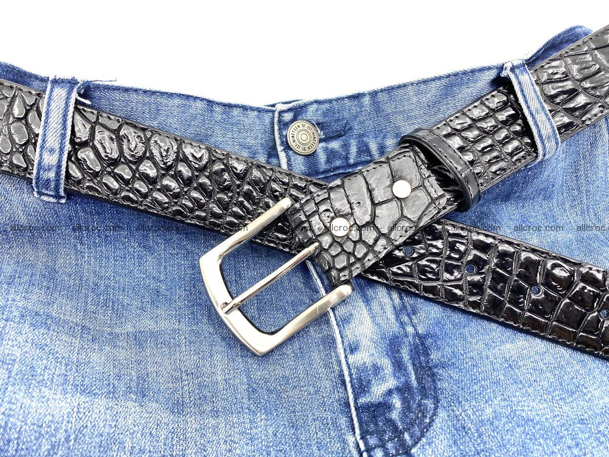 Handcrafted Crocodile leather belt 749 Foto 9