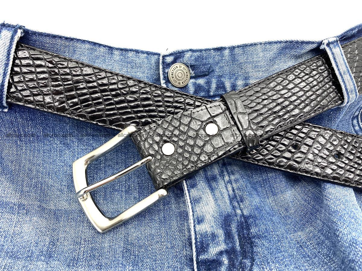 Handcrafted Crocodile leather belt 751 Foto 9