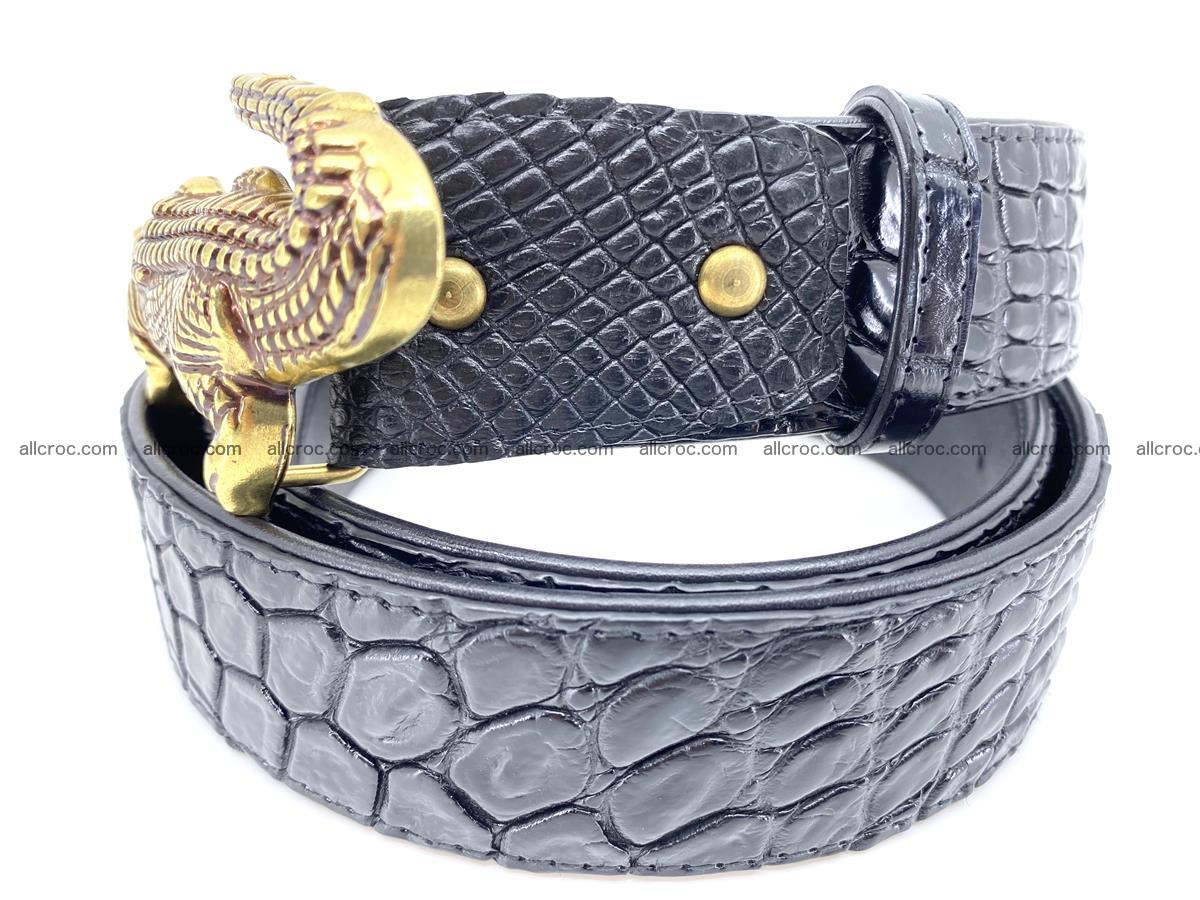 Handcrafted Crocodile leather belt 769 Foto 2
