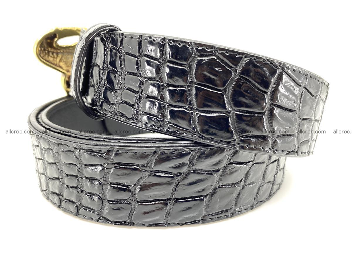 Handcrafted Crocodile leather belt 769 Foto 3