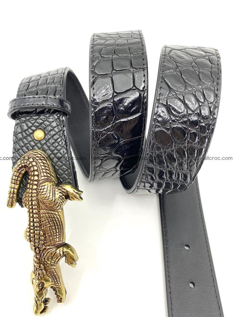 Handcrafted Crocodile leather belt 769 Foto 4