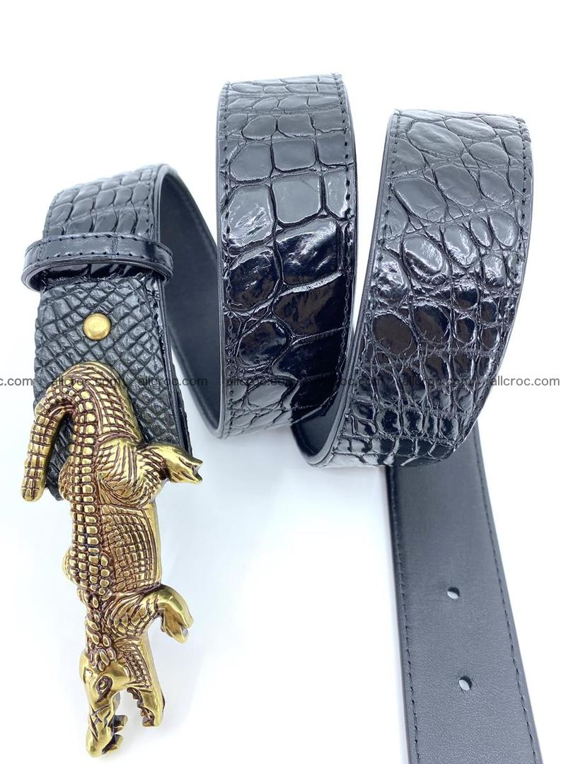 Handcrafted Crocodile leather belt 769 Foto 5