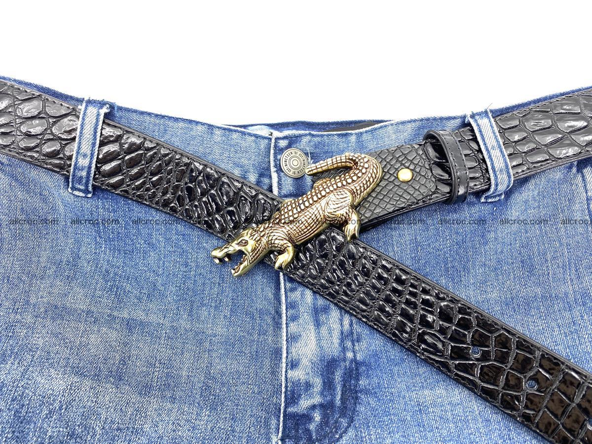 Handcrafted Crocodile leather belt 769 Foto 10