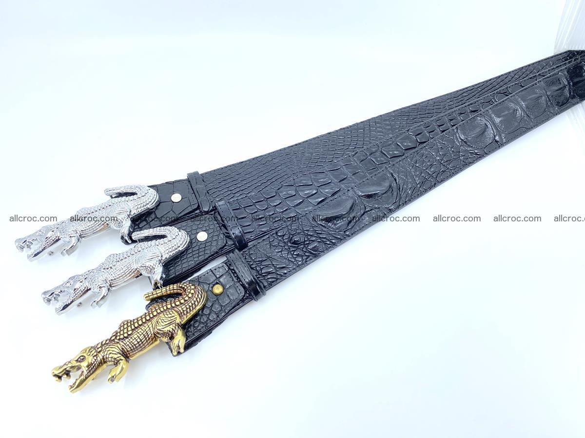 Handcrafted Crocodile leather belt 767 Foto 13