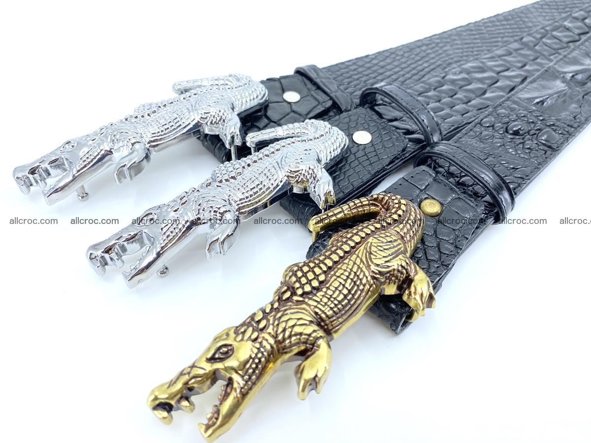 Handcrafted Crocodile leather belt 767 Foto 14