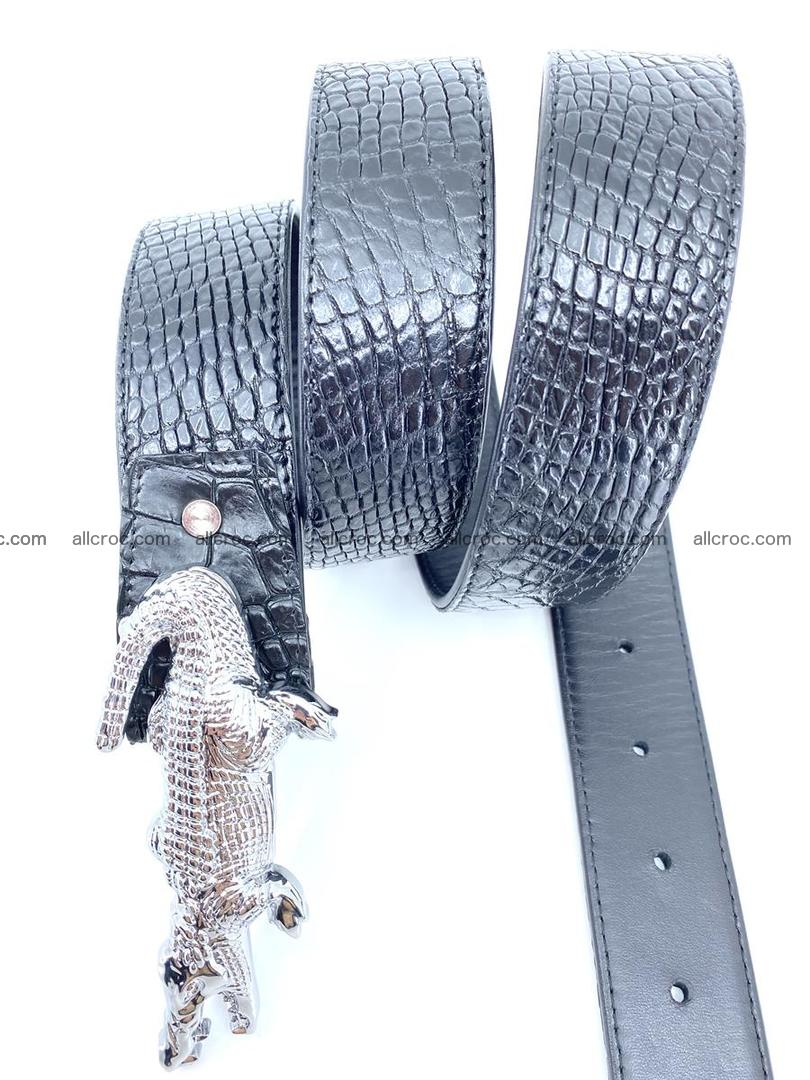 Handcrafted Crocodile leather belt 767 Foto 6