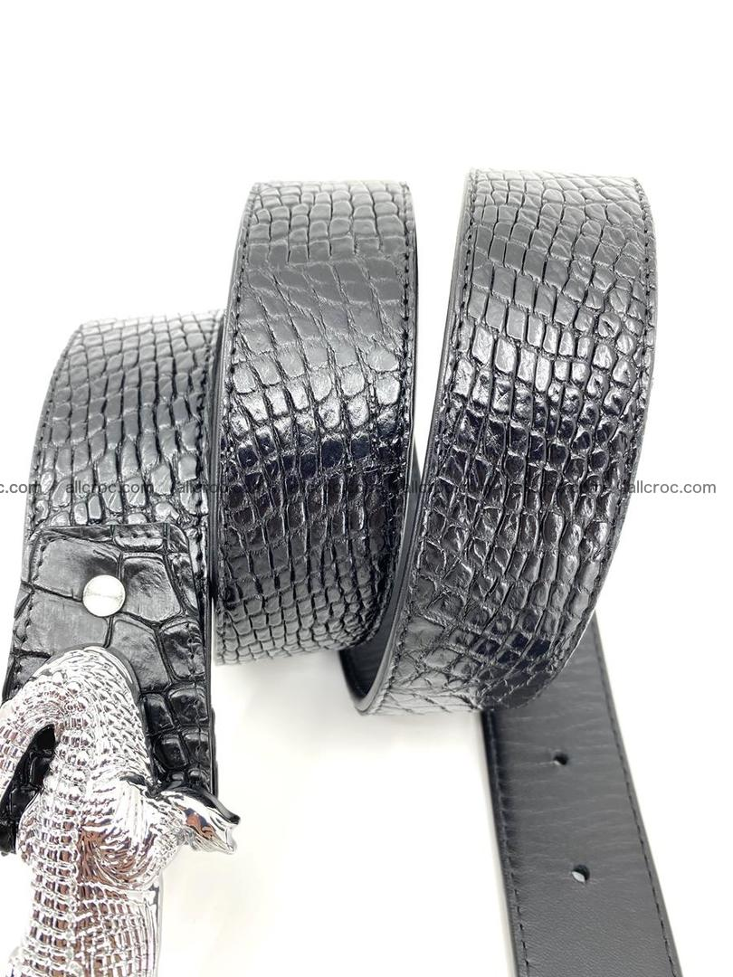 Handcrafted Crocodile leather belt 767 Foto 7
