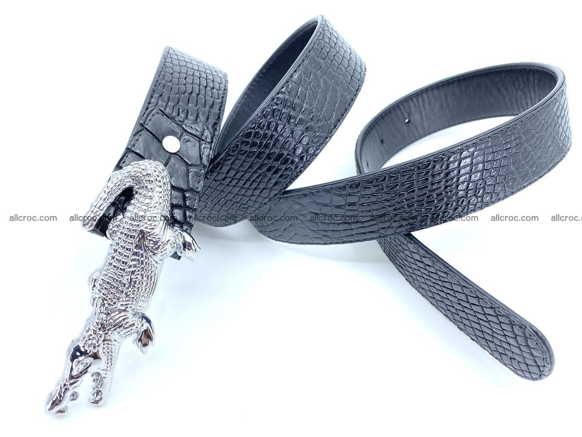 Handcrafted Crocodile leather belt 767 Foto 9