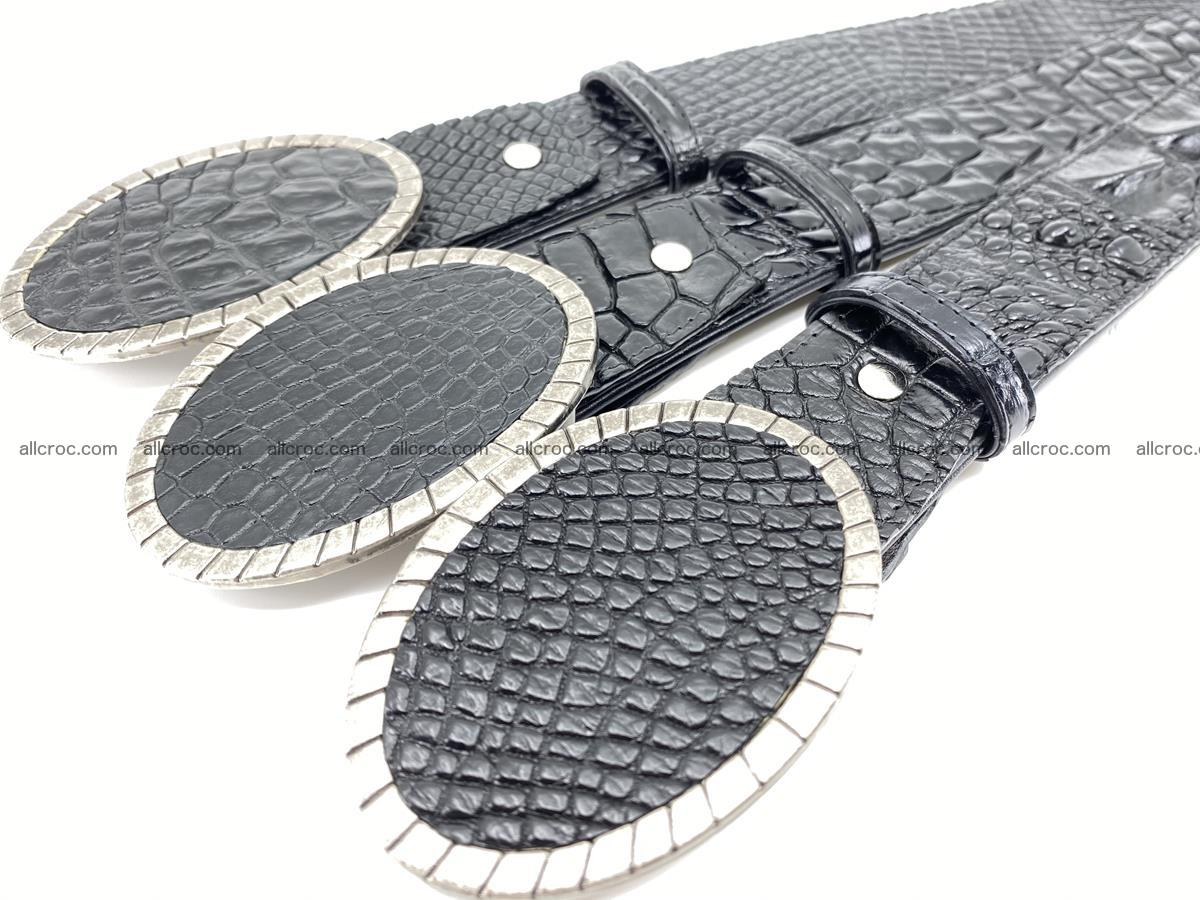 Handcrafted Crocodile leather belt 776 Foto 11
