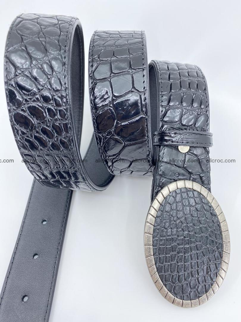 Handcrafted Crocodile leather belt 775 Foto 2