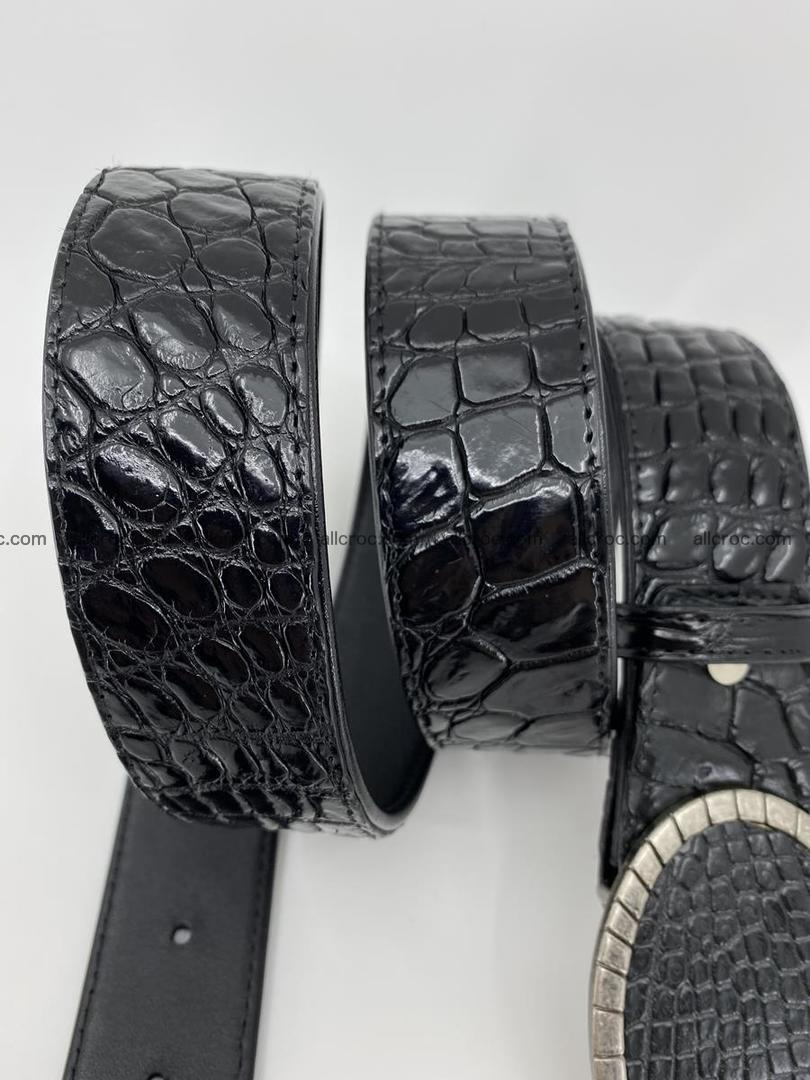 Handcrafted Crocodile leather belt 775 Foto 3
