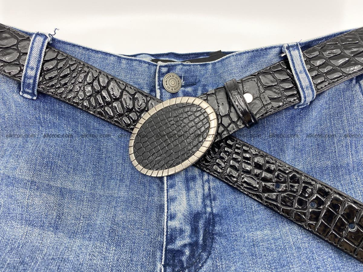 Handcrafted Crocodile leather belt 775 Foto 7