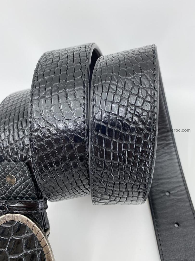 Handcrafted Crocodile leather belt 776 Foto 3