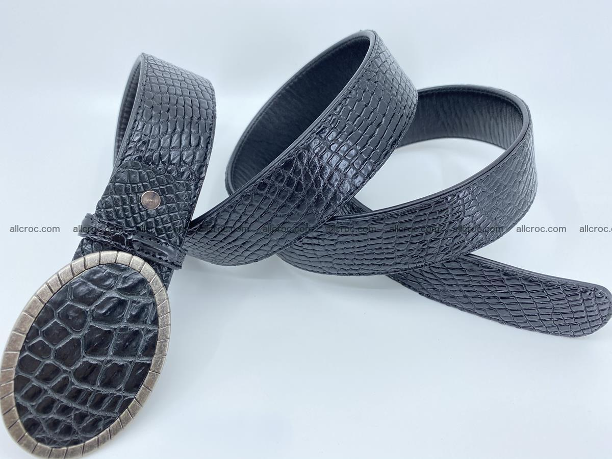 Handcrafted Crocodile leather belt 776 Foto 4