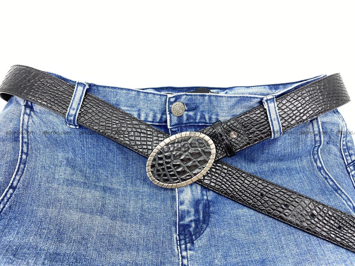 Handcrafted Crocodile leather belt 776 Foto 6