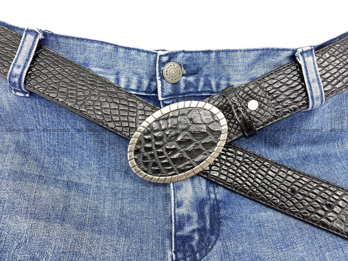 Handcrafted Crocodile leather belt 776 Foto 7