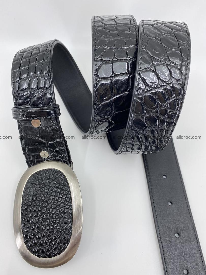 Handcrafted Crocodile leather belt 792 Foto 3