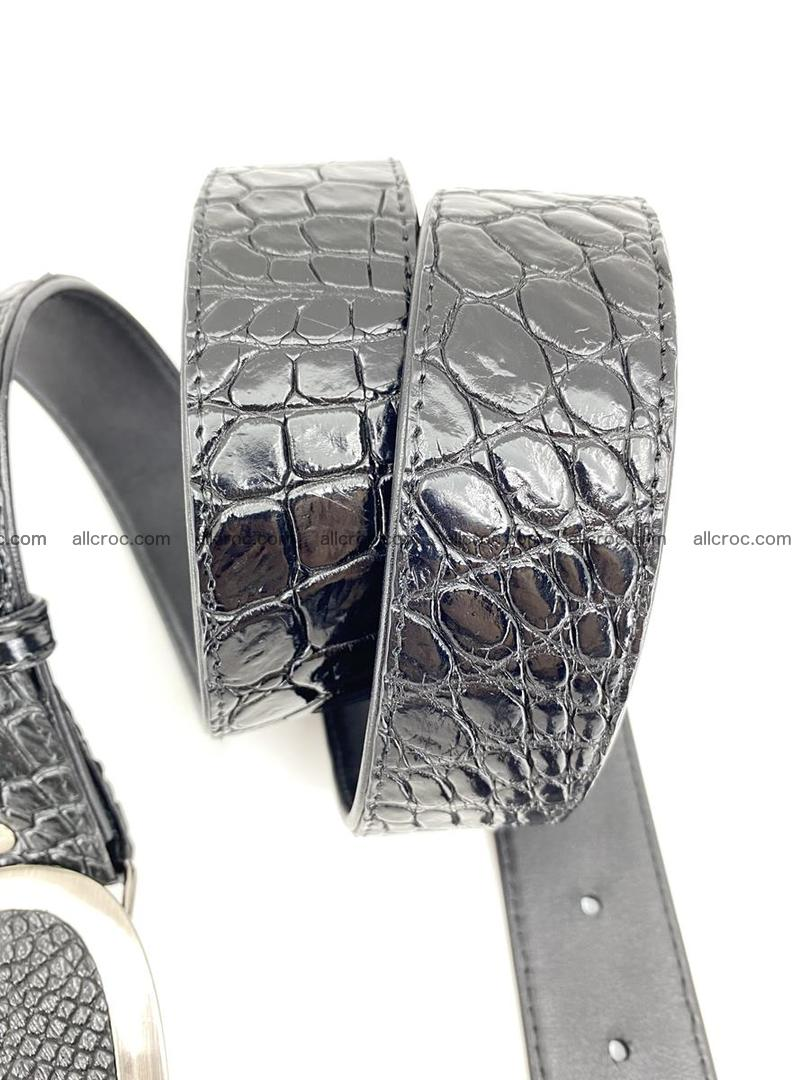 Handcrafted Crocodile leather belt 792 Foto 4