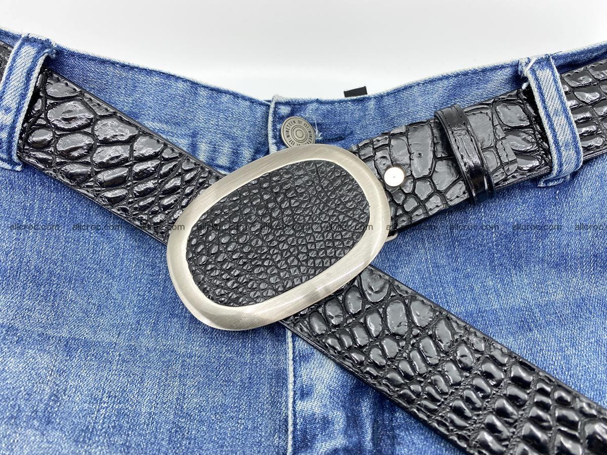 Handcrafted Crocodile leather belt 792 Foto 8