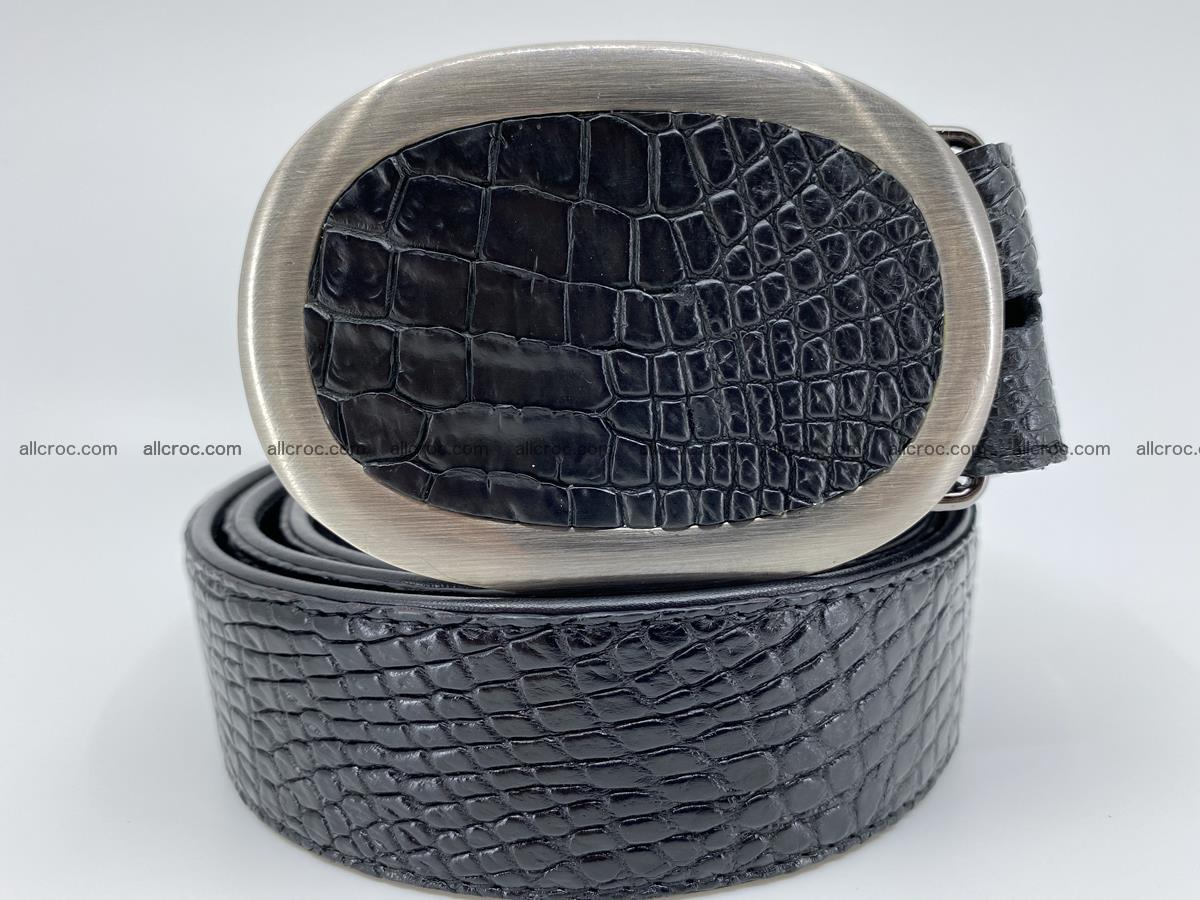 Handcrafted Crocodile leather belt 793 Foto 9