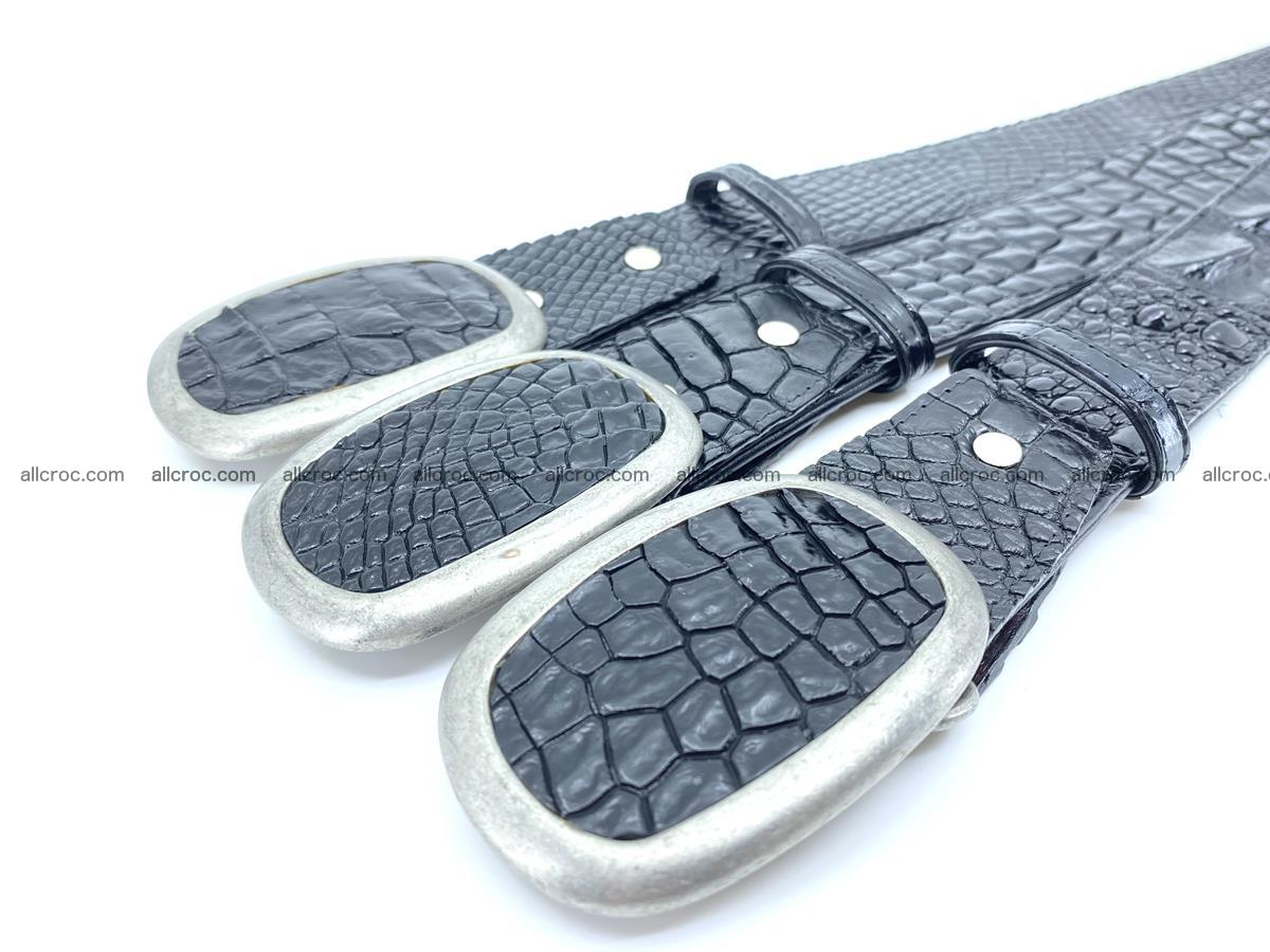 Handcrafted Crocodile leather belt 798 Foto 7