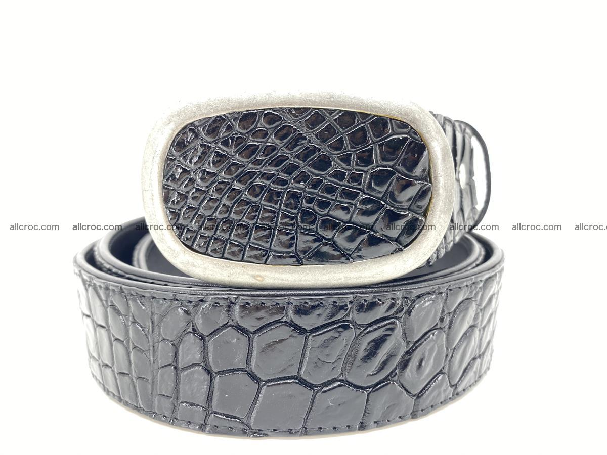 Handcrafted Crocodile leather belt 798 Foto 11