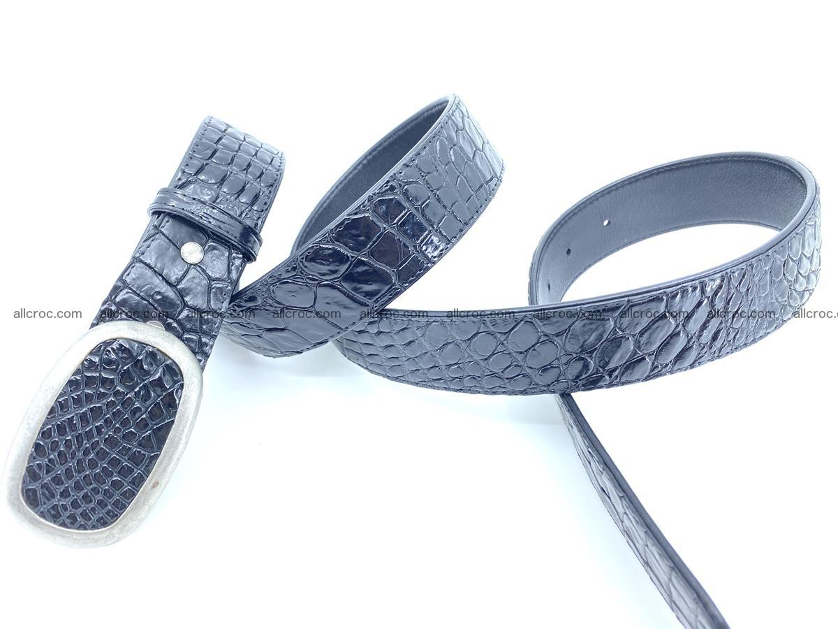 Handcrafted Crocodile leather belt 798 Foto 3
