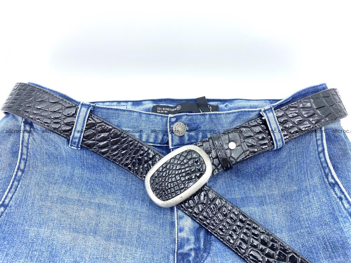 Handcrafted Crocodile leather belt 798 Foto 5